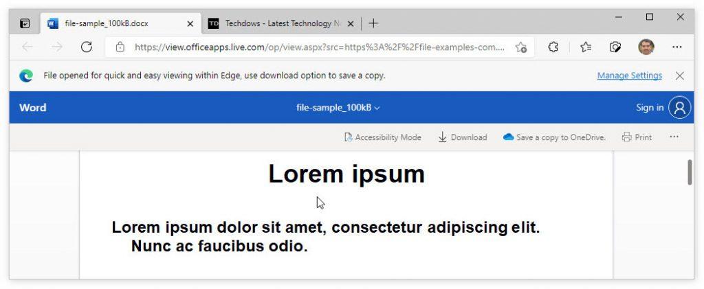 Edge浏览器将推出内置Office文档查看器
