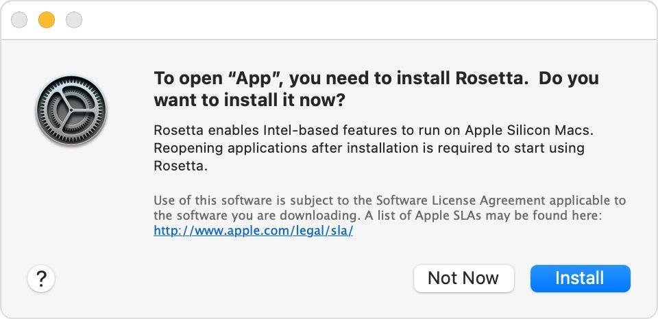 macOS Big Sur Rosetta 安装提醒