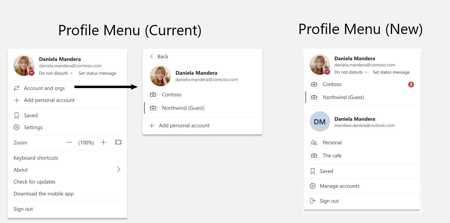 微软Teams账户菜单将改版:更轻松地切换帐户