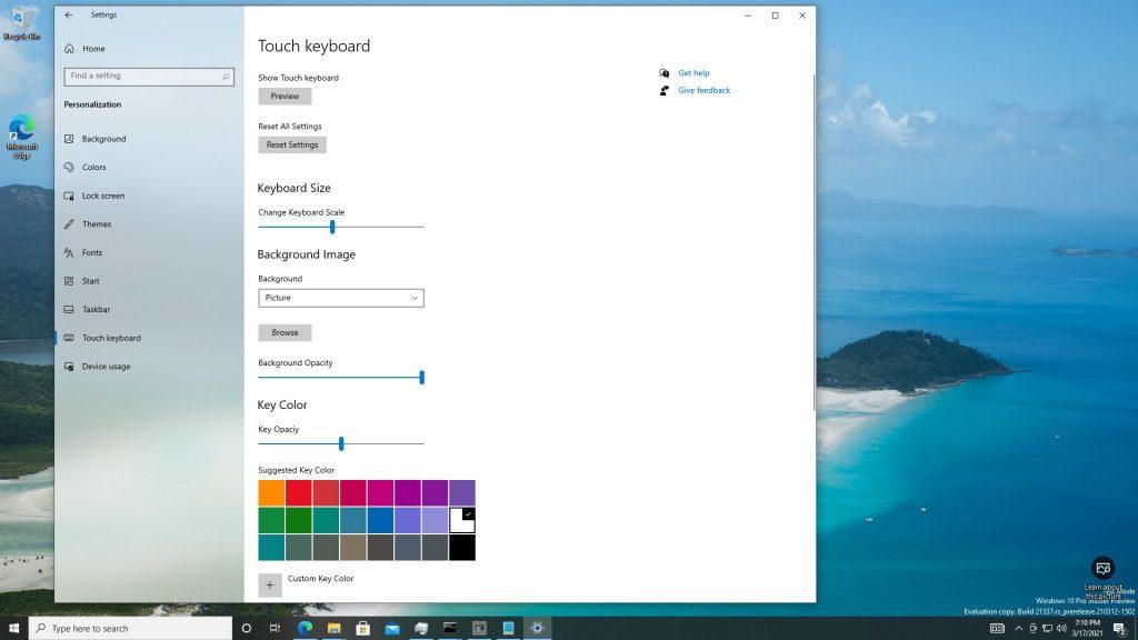 Win 10 21H2触摸键盘大幅改进:背景图片曝光