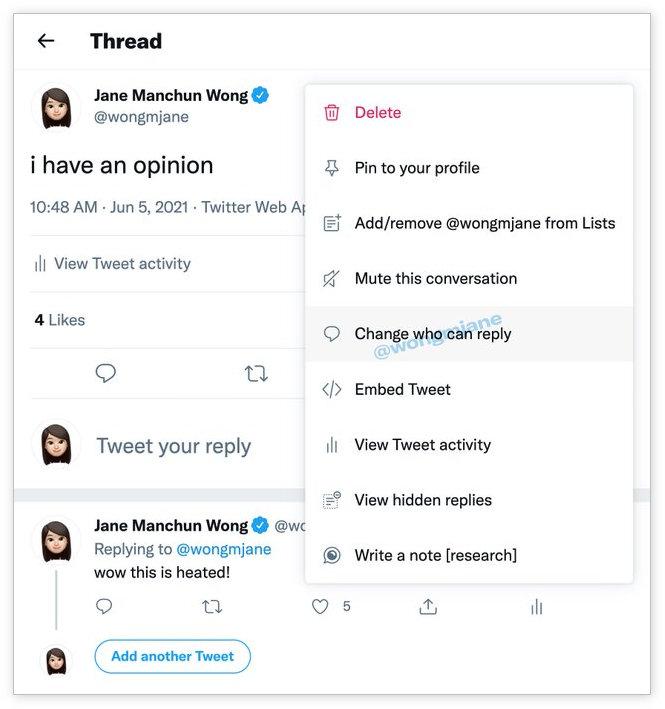 推文发布后,推特将允许修改可回复的人