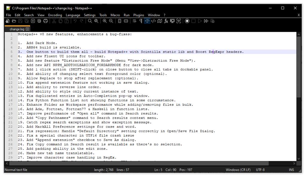 开源纯文本编辑器Notepad++8.0发布:新增暗黑模式和新免打扰模式