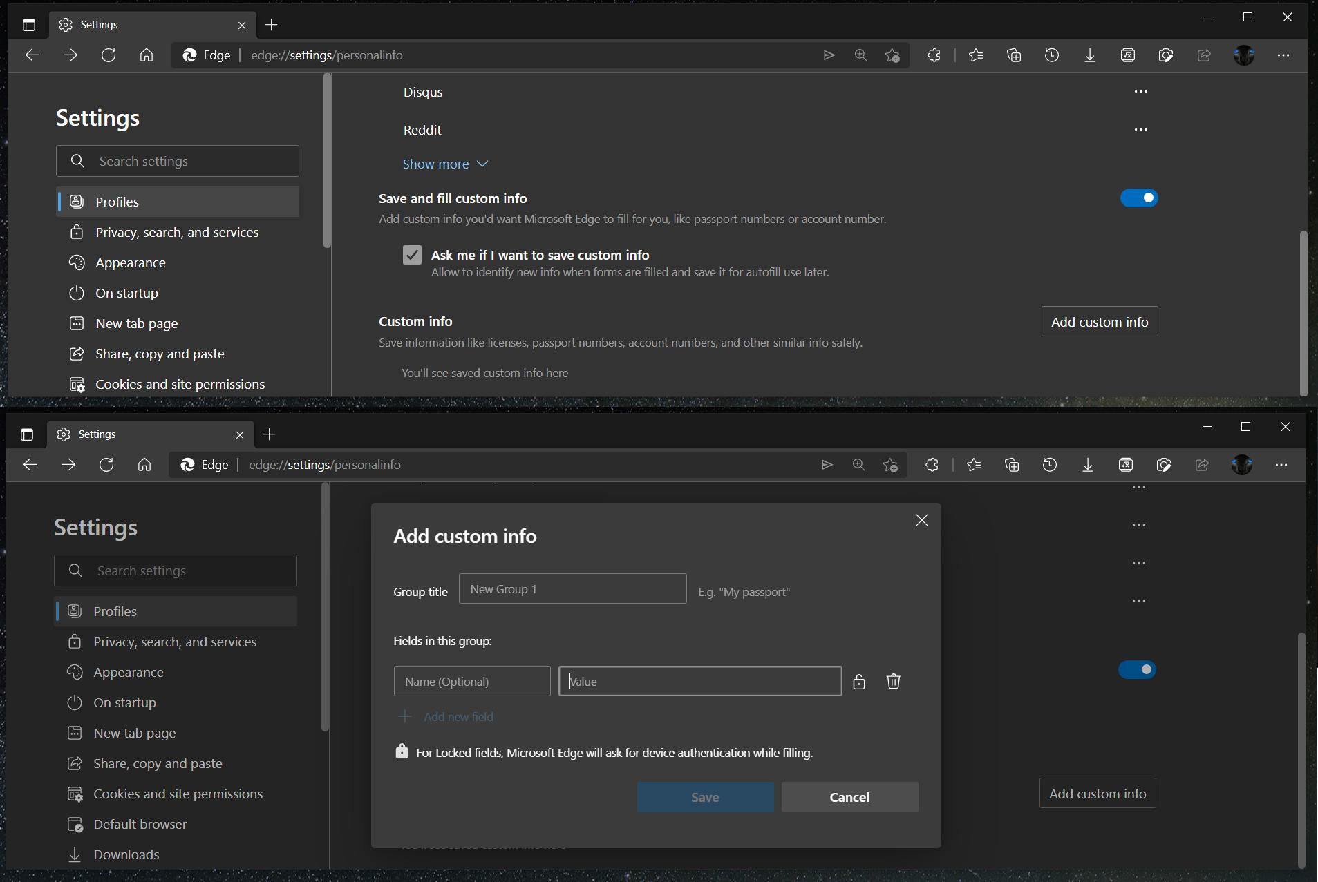 微软测试Edge浏览器自定义字段自动填充功能