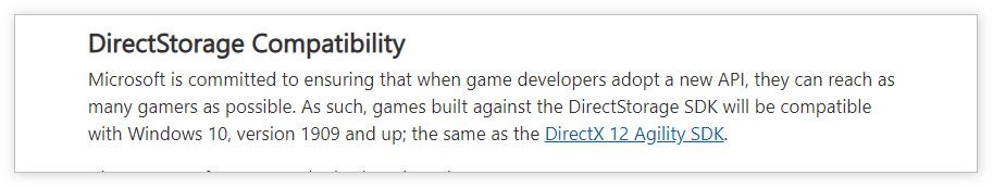 微软发布Direct Storage开发者预览版:兼容Win10