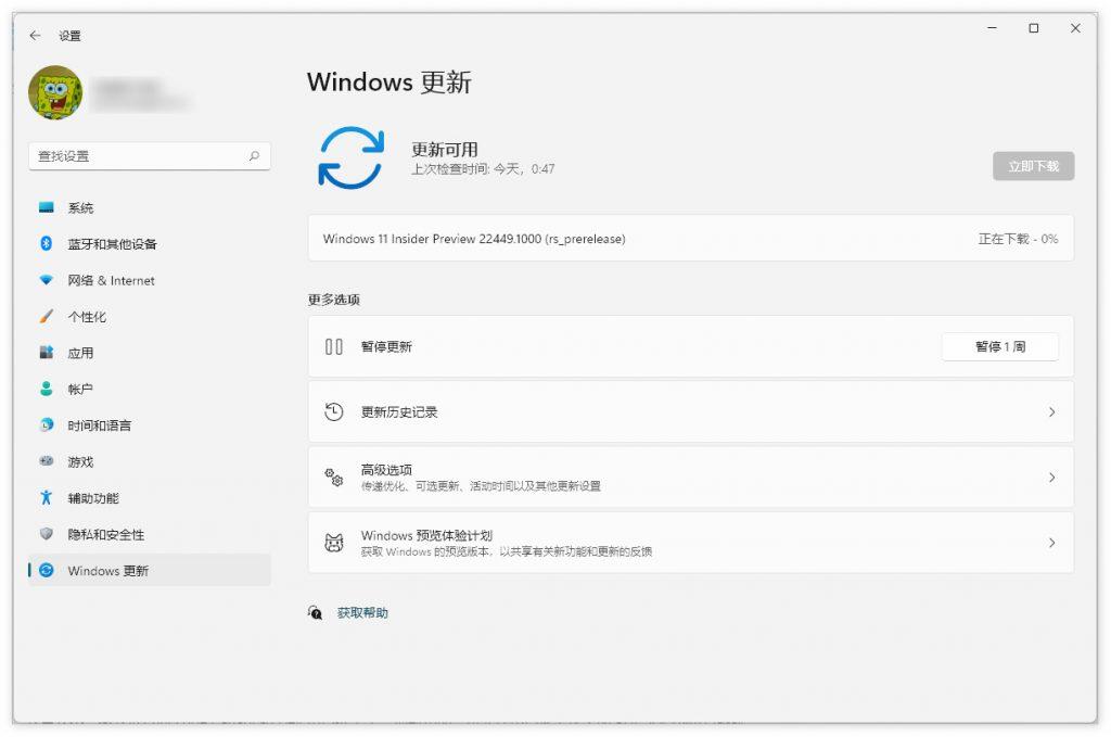微软向Dev通道发布Win11 Insider Preview 22449.1000