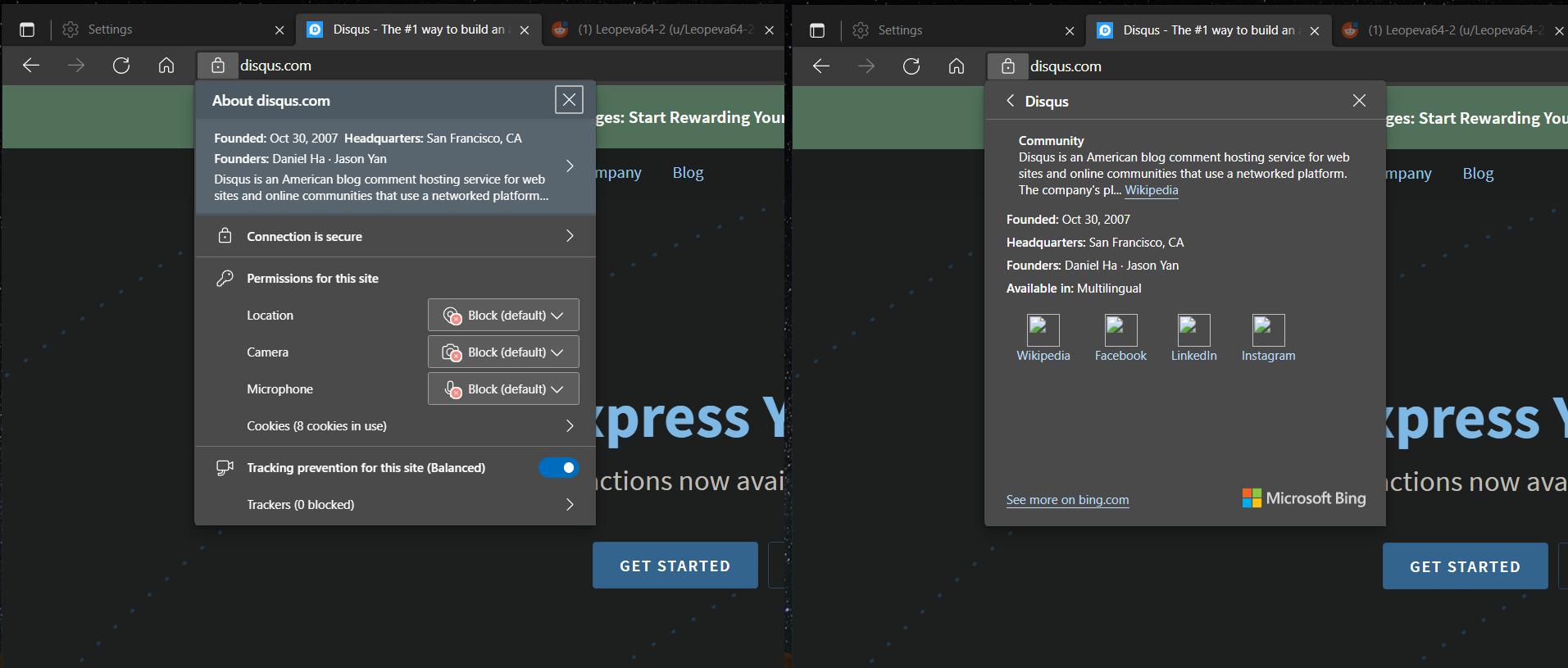 Edge浏览器可展示当前站点的维基百科简介信息