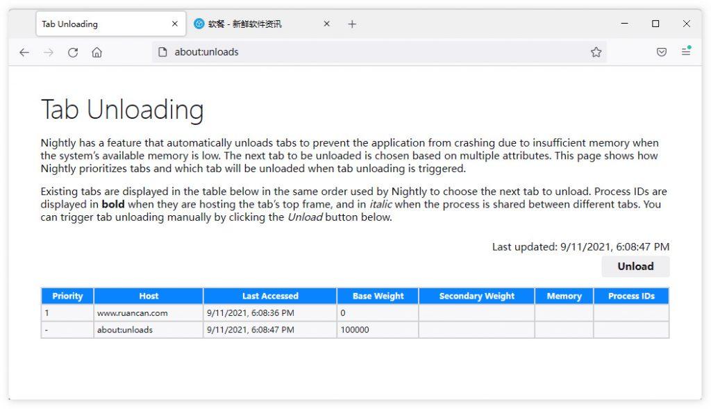 Firefox测试标签页自动卸载功能:Firefox 93将支持
