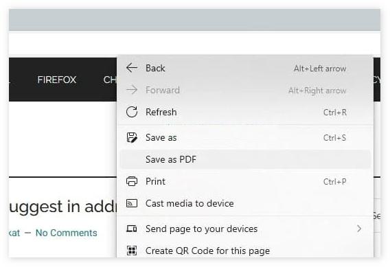 Edge 95 Canary新增右键菜单项:将网页保存为PDF