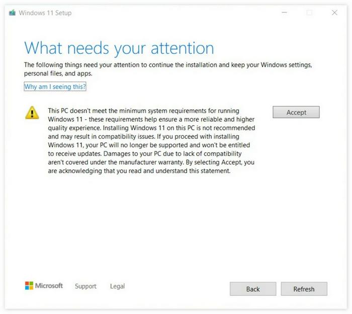 微软更新PC Health Check提示:强行安装Win11导致PC损坏不在保修范围